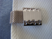 Art Deco Revival 1970s Cufflinks - Stepped Squares on Silver Mesh Design